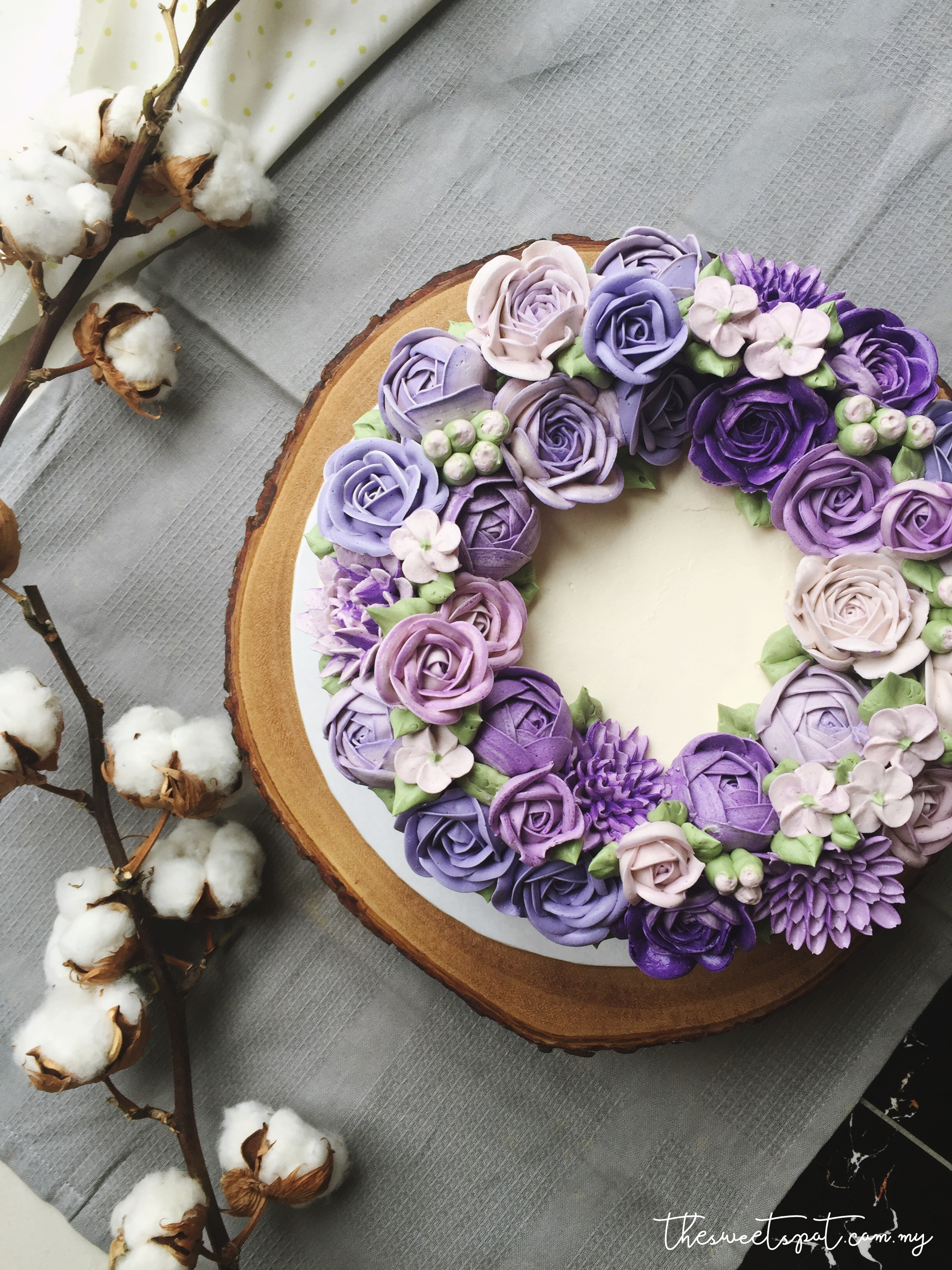 purple ombre buttercream flower cake
