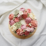 Pink and Green Floral Buttercream Wreath