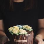 """wooden grain large rose buttercream 6"""""""