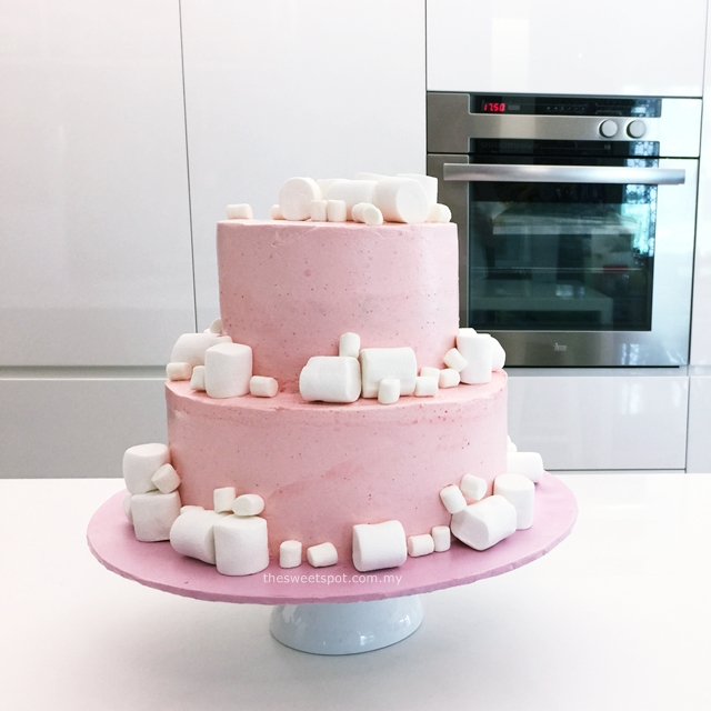 pink marshmallow birthday cake