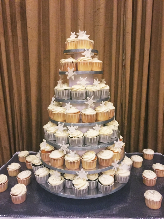 snowflake wedding cupcake tower