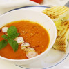 Fresh tomato soup with grilled cheese toast