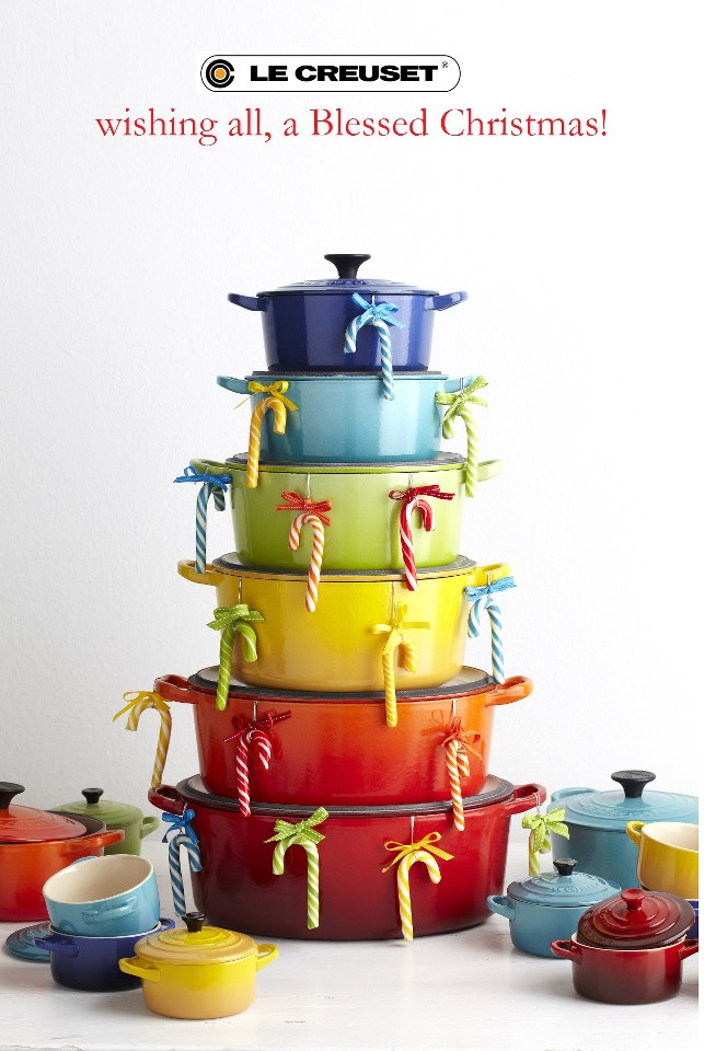 le creuset christmas tree pot