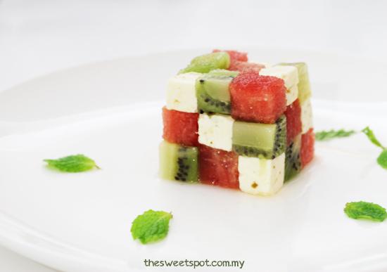 Kiwi watermelon feta rubik cube