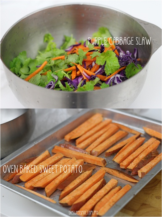 purple cabbage slaw and sweet potato