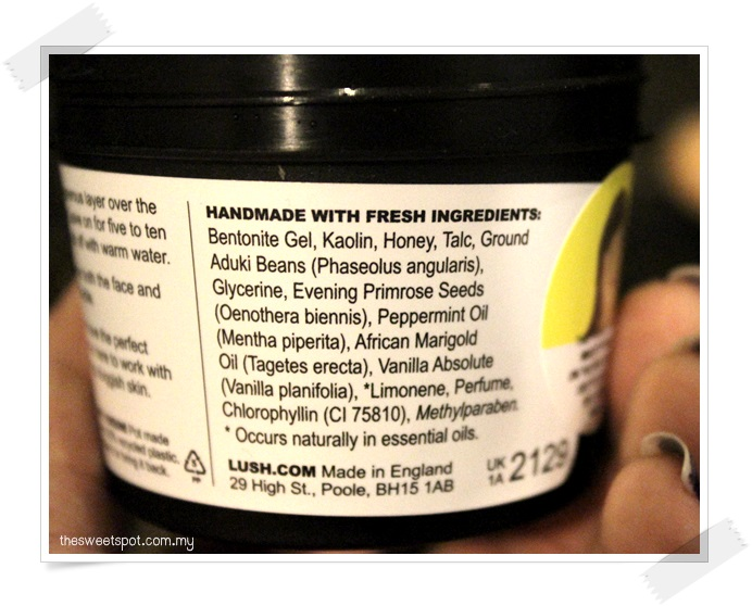 LUSH mask of magnaminty ingredients