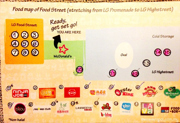 1 utama Food Street Food Map