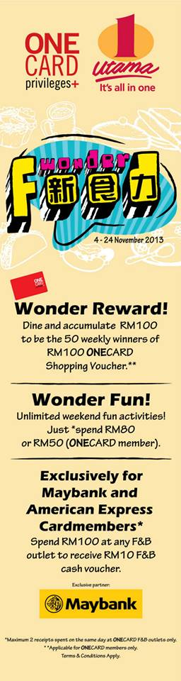 1 utama Food wonder promotion