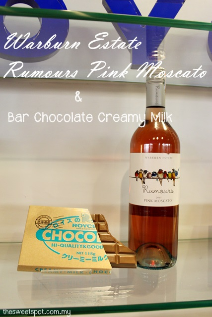 bar chocolate creamy milk and pink moscato