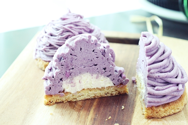 Purple sweet potato mont blanc inside