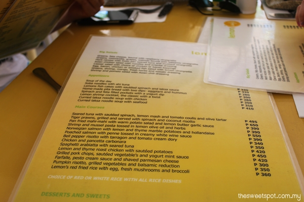 lemon i cafe menu