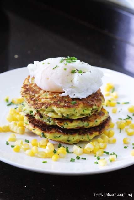 zucchini fritters poached egg