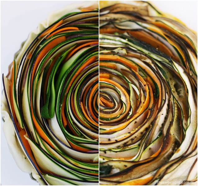 spiral vegetable tart baked
