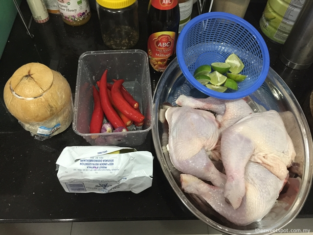 preparing indonesian coconut grill chicken