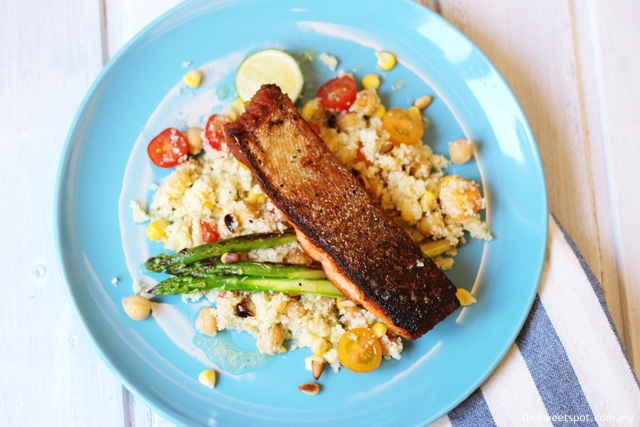 Crispy Skin Salmon with Cauliflower Couscous
