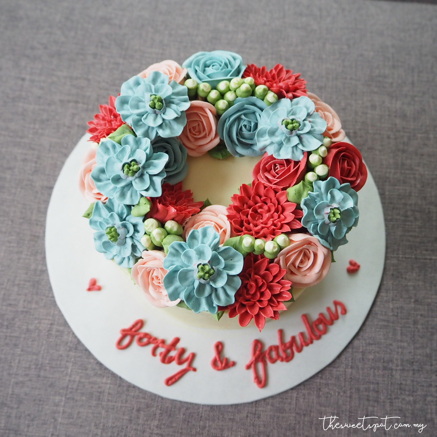 forty and fabulous buttercream flower cake