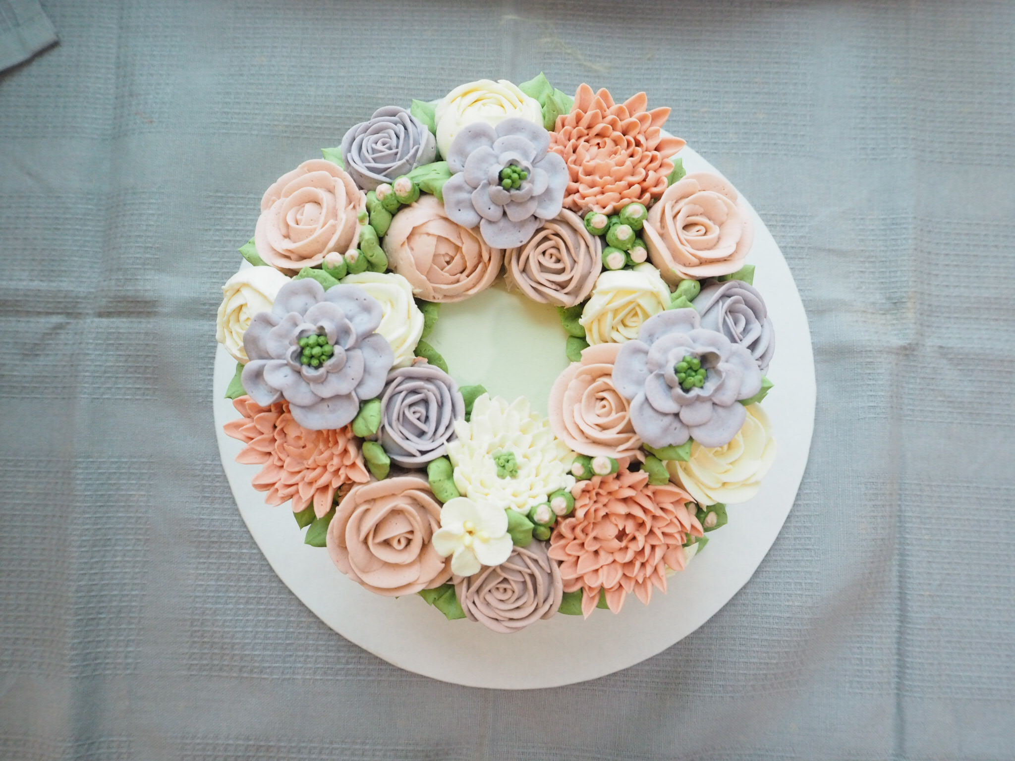 pink and purple buttercream cake