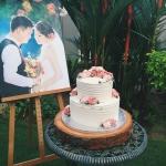 2 tier rustic buttercream flower cake