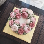 Ombre pink buttercream roses cake 6""