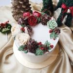 Christmas theme buttercream flower cake