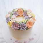 Mix pastel buttercream flower cake