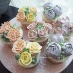 Pastel Lilac, yellow pink cupcakes