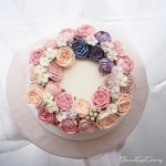 """8"""" wreath with pink and navy blue"""