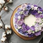 purple ombre buttercream flower cake