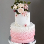 2 tier ombre ruffle and roses