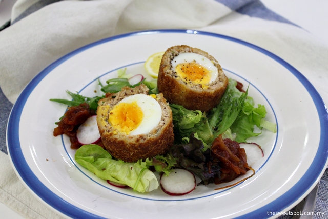 Scotch egg with tomato jam